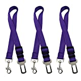 Magik 3 PCS Adjustable Pet Dog Cat Car Seat Belt Safety Leads Vehicle Seat Belt Harness (Purple)