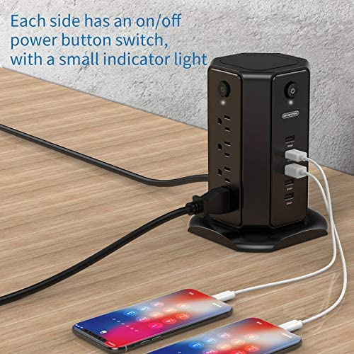 Power Strip Tower, NTONPOWER Surge Protector Flat Plug, 8 Outlets 5 USB Desktop Charging Station, Individual Switches, 6ft Heavy Duty Cord 13A Circuit Breaker for Home Office Dorm Essential
