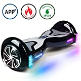 TOMOLOO Hoverboard with Bluetooth Speaker UL2272 Certified Self Balancing Electric Scooter, 6.5' Two-Wheel Hover Boards LED Lights for Kids and Adult (K1-Black)