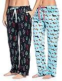 Ashford & Brooks Women's Plush Mink Fleece Pajama Sleep Pants 2 Pack - Set 2 - Boho Feather/Dachshund Dog Lover - X-Large