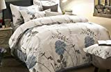 Wake In Cloud - Floral Duvet Cover Set, 100% Cotton Bedding, Botanical Flowers Pattern Printed, with Zipper Closure (3pcs, Queen Size)