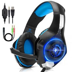 Beexcellent PC Gaming Headset PS4, Xbox One, VR, Surround Sound Overear Gaming Headphones Noise Isolating Mic with LED Light, Also for Laptop Tablet Mac Smart Phone