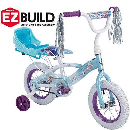 Disney Frozen 12' Girls' EZ Build Bike with Sleigh Doll Carrier, by Huffy (Bike)