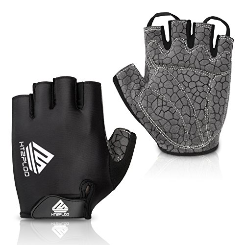Cycling Gloves Mountain Bike Gloves Bicycle Riding Gloves Anti-slip Shock-absorbing Pad Breathable Half Finger Biking Gloves Outdoor Sports Gloves Men/Women (Black, X-Large)