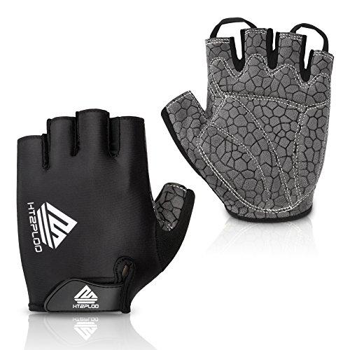 Cycling Gloves Mountain Bike Gloves Bicycle Riding Gloves Anti-slip Shock-absorbing Pad Breathable Half Finger Biking Gloves Outdoor Sports Gloves Men/Women (Black, X-Large)