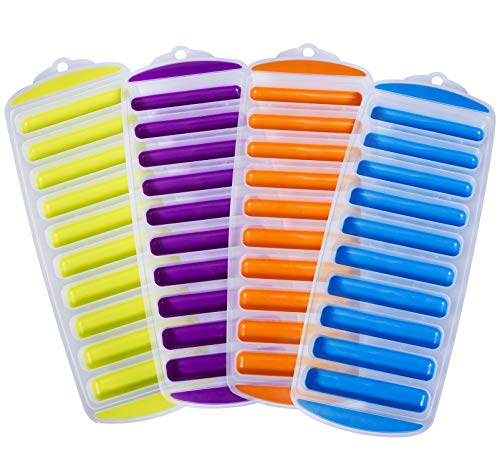 Ozera Silicone Ice Stick Cube Trays with Easy Push and Pop Out Material, Water Bottle Ice Stick Tray, Ideal for Sports and Water Bottles, Assorted Bright Colors (Set of 4)