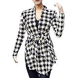 Lowpricenice(TM) Women's Fashion Korean Casual Houndstooth Pattern Thin Long Sleeve Cardigan Coat Jacket Outwear (M)
