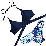 MOOSKINI Womens Padded Push-up Bikini Set Bathing Suits Two Piece Swimsuit (L, Navy)