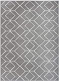 Antep Rugs Kashan King Collection Trellis Polypropylene Indoor Area Rug (Grey/Cream 5' X 7')