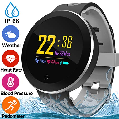 Fitness Tracker for Women Men with Blood Pressure Heart Rate Monitor 1.3' Touchscreen Waterproof Smartwatch Activity Tracker Pedometer Calorie Blood Oxygen Smart Wrist for Mothers Day Gift(Steel Band)