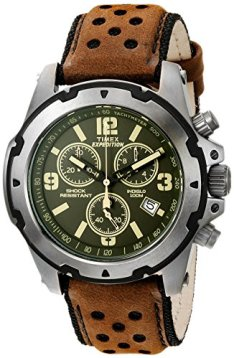 Timex Men's TW4B01600 Expedition Sierra Brown/Green Leather Strap Watch