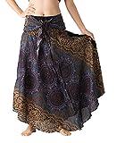 Bangkokpants Women's Long Hippie Bohemian Skirt Gypsy Dress Boho Clothes Flowers One Size Fits (Bohorose Grey, One Size)