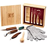 Elemental Tools 9pc Wood Carving Set - Hook Carving Knife, Whittling Knife, And Detail Wood Knife For Spoon, Bowl, Kuksa Cup Or General Woodwork - Bonus Cut Resistant Gloves And Bamboo Gift Box