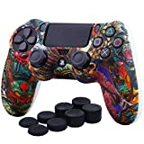 YoRHa Water Transfer Printing Camouflage Silicone Cover Skin Case for Sony PS4/slim/Pro dualshock 4 controller x 1(Beasts) With Pro thumb grips x 8