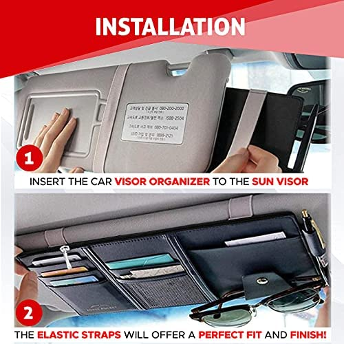 EcoNour Car Sun Visor Organizer | Multi-Pocket Car Organizer | Sunglasses Holder for Car | Visor Auto Interior Car Accessories | Cards, Pen Holder | Travel Accessories | Visor Document Holder 14