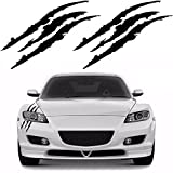 YGMONER 2PCS Claw Marks Decal Reflective Sticker for Car Headlamp (black)