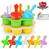 ZHERUI Silicone Popsicle Molds For Kids, Egg Bites Molds for Instant Pot Accessories with Lid, Non-Stick Ice Pop Maker and 14 Colorful Sticks and Drip-guards BPA-FREE & Cookbook Gift (Set of 2)