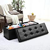 Ellington Home Foldable Tufted Faux Leather Large Storage Ottoman Bench Foot Rest Stool/Seat - 15' x 45' x 15' (Black)