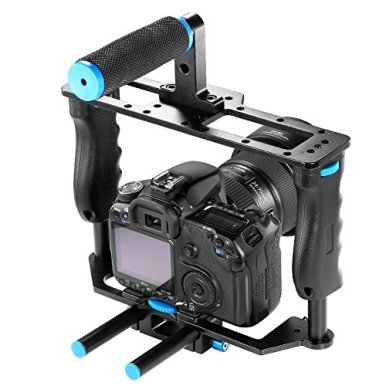 Neewer-Aluminum-Alloy-Camera-Video-Cage-Film-Movie-Making-Kit-include1Video-Cage1Top-Handle-Grip215mm-Rod-for-DSLR-Cameras-Such-as-Canon-5D-mark-II-III-700D-650D-Nikon-D7200-Pentax-Sony-Olympus