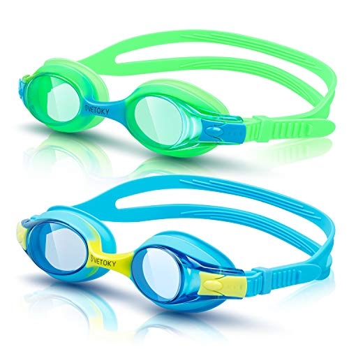 vetoky Kids Swim Goggles, Pack of 2 Anti Fog Swimming Goggles UV Protection Clear No Leaking for Child and Youth Ages 3-12 Blue+Green