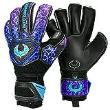 Renegade GK Vortex Storm Roll Cut Level 3 Goal Keeper Gloves with German Hypergrip Palms - Adults, Boys & Girls Goalie Gloves Size 7 - Youth Keeper Gloves Black, Blue, Purple