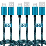 Micro USB Cable, 10ft [3 Pack] Extra Long Fast Charging Cord Nylon Braided High Speed USB Durable Android Charger Cable for Samsung Galaxy S7 Edge/S6/S5,Android Phone,LG G4,HTC,Echo Dot (2nd) Blue