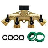 ATDAWN 4 Way Brass hose splitter, Heavy Duty Garden Hose Connector with 4 shut-off Valves 3/4