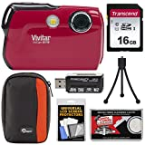 Vivitar ViviCam 8119 Digital Camera (Red) with 16GB Card + Case + Reader + Tripod + Kit
