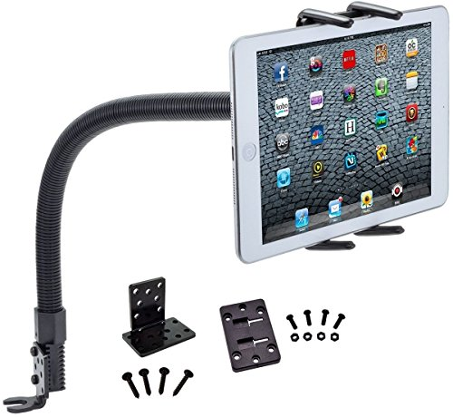 Digitl Tablet Holder, Car Mount Goose Neck Dash Hands-Free for Apple iPad Pro/Air/Mini,Samsung Galaxy TAB S4 S3 A E (all 7-13') Tablets w/Anti-Vibration Rail Vehicle Attachment (with or without case)