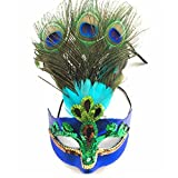 Masquerade Mask Peacock Feathers Mask Magic Sequins Venetian Half Mask for Halloween Party Evening Prom Costume Accessory Blue
