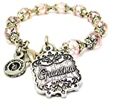 Chubby Chico Charms Grandma Victorian Scroll Capped Crystal Bracelet in Lavender Purple