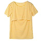 Women Breastfeeding Shirt Striped Patchwork Short Sleeve Maternity Breastfeeding and...