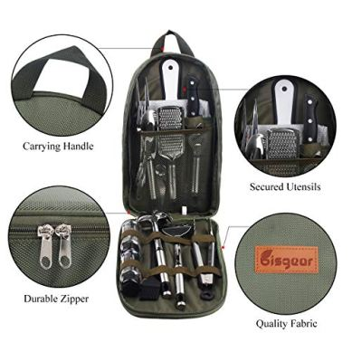 Bisgear-14pcs-Backpacking-Camping-Cookware-Kitchen-Utensil-BBQ-Organizer-Travel-Mess-Kit-with-Water-Resistant-Case-Cutting-Board-Rice-Paddle-Tongs-Scissors-Knife-Spork