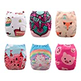 Babygoal Baby Cloth Diapers, One Size Reusable Washable Pocket Nappy, 6pcs Diapers +6pcs Microfiber Inserts+4pcs Bamboo Inserts,Girl Color 6FG34D