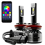 DAYLEAD H8 H9 H11 RGB LED Headlight Bulb Conversion Light kit APP Bluetooth Control Multi-color 6000K Cool White