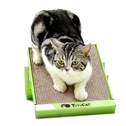 Cat Scratcher Cardboard Dreamcat Cat Scratch Pad Cat Toys Four Claws Cat Scratching Pad Kitty Lounge Solid Fixing Fat Cat Scratcher(Green)
