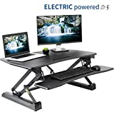 VIVO Electric Height Adjustable Standing Desk Converter - Sit to Stand Power Riser | 36' Black Tabletop Workstation fits Dual Monitor (DESK-V000EB)