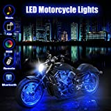 BLIIFUU 12PCS Motorcycle LED Lights with Bluetooth Wireless Remote Controllers, 18 RGB Colors Accent Glow Neon Atmosphere Lights Bar for Harley Davidson Suzuki BMW