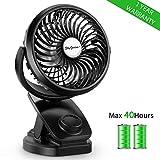 SkyGenius Battery Operated Clip on Mini Desk Fan, Rechargeable Baby Stroller Fan W/ 4400mA Batteries(Max 40 Hours)