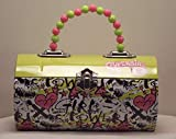 Supergirl Rollbag Style Tin Metal Handbag with Beaded Handle Light Green