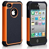 iPhone 4S Case, iPhone 4 Case, CHTech Fashion Shockproof Durable Hybrid Dual Layer Armor Defender Protective Case Cover for Apple iPhone 4S/4 (Orange)