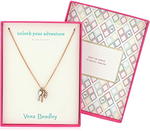 "51LZ6 DFgSL Charm necklace featuring pavé details. Gift-packaged in a box that reads ""Unlock Your Adventure"""