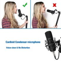 USB-Condenser-Microphone-Kit-PC-Computer-Podcast-Streaming-Cardioid-Mic-Plug-Play-with-USB-XLRPop-FilterRound-Base-StandShock-Mount-for-Computer-YouTube-Gaming-Sound-Recording