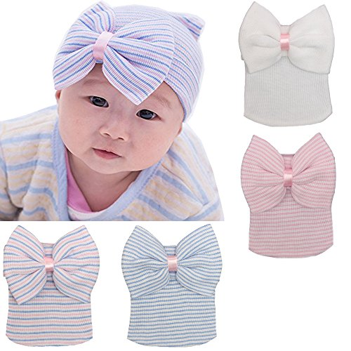 DRESHOW BQUBO Newborn Hospital Hat Infant Baby Hat Cap with Big Bow Soft Cute Knot Nursery Beanie Pack 4