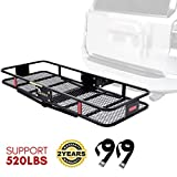 KING BIRD Updated Anti-Rust Design 520 lbs 60' x 24' x 6' Folding Cargo Carrier w/Packing Straps Hitch Mount Basket Fits to 2'' Receiver