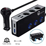 Qidoe 120W Car Charger, 12V/24V 3-Socket Cigarette Lighter Splitter Quick Charge 3.0 and Three 2.4A USB Outlet with Voltmeter Power Switch for for GPS, Dash Cam, Sat Nav, Phone, Android, iPad, Tablet