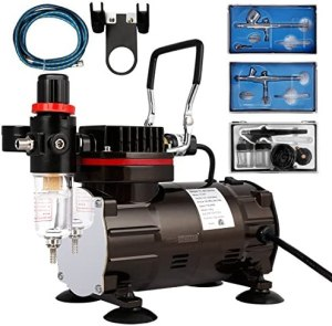 VIVOHOME 110-120V Professional Airbrushing Paint System with 1/5 HP Air Compressor and 3 Airbrush Kits for Tattoo Makeup Shoes Cake Decoration Black