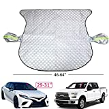 Car Windshield Snow Ice Cover - Windshield Cover For Ice and Snow Thickened Heavy Duty 4 Layer Sun Shade with Side Rearview Mirror Protector and Anti-Theft Edges,75'(W) X 57'(H) Fit For Car SUV Van
