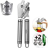 Can Opener Manual Can Opener Smooth Edge Opening - Heavy Duty 304 Stainless Steel - Ultra Sharp Blades - Big Knob For Easy Turn - Ideal For Pampered Chef or Seniors and Arthritis (8 Tall)