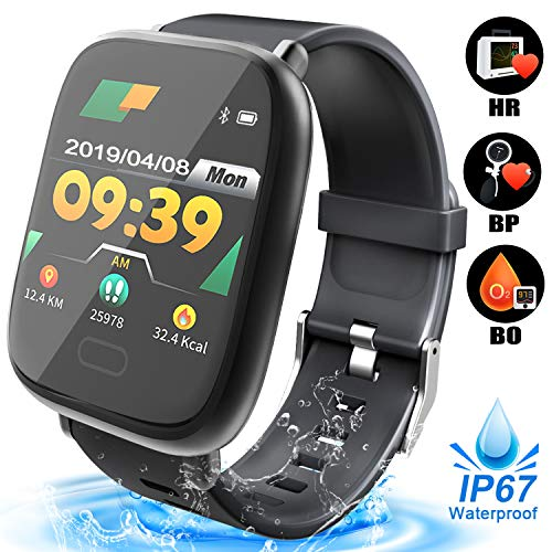 Smart Watch for Men - Waterproof Fitness Tracker with Blood Oxygen Monitor, Heart Rate Blood Pressure Calorie Pedometer Run Activity Tracker Watch Outdoor Wristband Fathers Day Birthday Gift